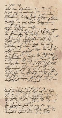 Tagebucheintrag vom 25. Juli 1867